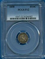 1858 PCGS F12 SEATED LIBERTY HALF DIME US MINT SILVER COIN H10C PCGS 1856 F-12