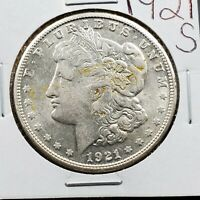 1921 S $1 MORGAN EAGLE SILVER DOLLAR COIN AVG AU ABOUT UNC 100 YEARS