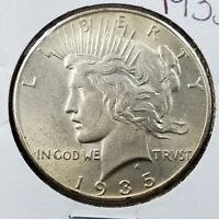 1935 P PEACE 90 SILVER EAGLE DOLLAR COIN BU UNCIRCULATED NOT MUCH TONING
