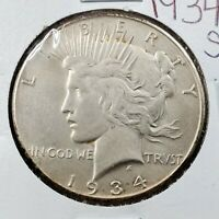 1934 S PEACE 90 SILVER EAGLE DOLLAR COIN AU DETAILS CLEANED