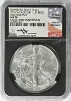 2016-W AMERICAN SILVER EAGLE BURNISHED $1 NGC MS70 MERCANTI 30TH FIRST RELEASES