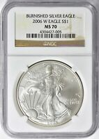 2006 W BURNISHED AMERICAN SILVER EAGLE NGC MS 70