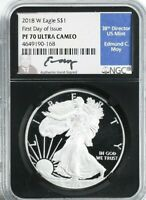 2018-W PROOF AMERICAN SILVER EAGLE NGC PF70 UCAM MOY LABEL FIRST DAY ISSUE