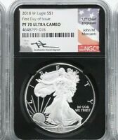 2018-W PROOF AMERICAN SILVER EAGLE NGC PF70 UCAM MERCANTI FIRST DAY ISSUE