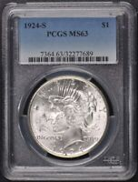 1924-S $1 PEACE DOLLAR PCGS MINT STATE 63