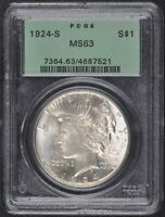 1924-S $1 PEACE DOLLAR PCGS MINT STATE 63 OGH
