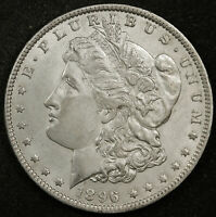 1896-O MORGAN SILVER DOLLAR.  CHEST FEATHERS.  NATURAL UNCLEANED.  AU.  161865