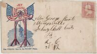 CIVIL WAR PATRIOTIC COVER   JEFF DAVIS BEING HUNG   USED TO MINERSVILLE PA
