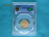 1909 D $5 DOLLAR INDIAN GOLD HALF EAGLE PCGS MS63 SECURE WIT