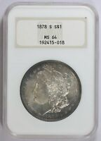 MORGAN SILVER DOLLAR 1878 S NGC MINT STATE 64