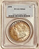 1898-P MINT STATE 64 MORGAN SILVER DOLLAR PCGS GRADED CERTIFIED US $1 COIN
