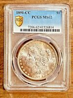 1891-CC MINT STATE 62 GOLD SHIELD MORGAN SILVER DOLLAR PCGS GRADED CERTIFIED US $1 COIN
