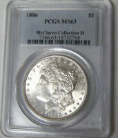 PCGS MINT STATE 63 1886 MORGAN SILVER DOLLAR MCCLAREN COLLECTION CHOICE UNCIRCULATED