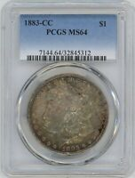 1883-CC PCGS MINT STATE 64 MORGAN SILVER $  GORGEOUS COLORFUL TONE  ONE OF A KIND