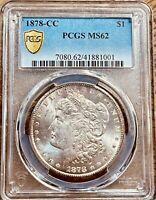 1878-CC MINT STATE 62 MORGAN SILVER DOLLAR PCGS GOLD SHIELD GRADED CERTIFIED U.S. 1$ COIN