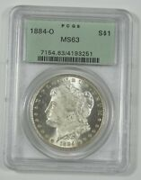1884-O MORGAN DOLLAR CERTIFIED PCGS MINT STATE 63 SILVER DOLLAR  OLD GREEN HOLDER