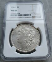 1902-P MORGAN DOLLAR MINT STATE 64 NGC. THIS IS A BRIGHT LUSTERUS COIN AND A HARDER DATE.