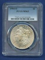 1904 O PCGS MINT STATE 63 MORGAN SILVER DOLLAR $1 US MINT COIN 1904-O MINT STATE 63