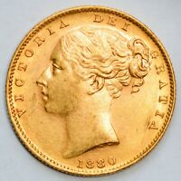 UNCIRCULATED 1880 S QUEEN VICTORIA GOLD SHIELD SOVEREIGN   S