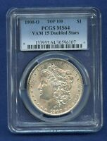 1900 O PCGS MINT STATE 64 MORGAN SILVER DOLLAR $1 1900-O VAM 15 DOUBLED STARS TOP 100