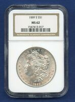 1889 S NGC MINT STATE 62 MORGAN SILVER DOLLAR $1  KEY DATE 1889-S MINT STATE 62 PQ COIN