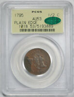1795 1/2C LIBERTY CAP HALF CENT PCGS AU 53 ABOUT UNCIRCULATED OGH CAC APPROVED