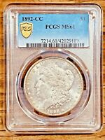 1892-CC MINT STATE 61 GOLD SHIELD MORGAN SILVER DOLLAR PCGS GRADED CERTIFIED US $1 COIN