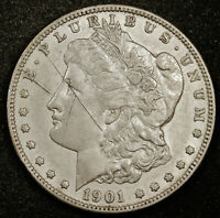 1901-S MORGAN SILVER DOLLAR.  NATURAL UNCLEANED.  AU DETAIL.  164491