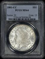 1881-CC MORGAN $1 PCGS MINT STATE 64 - PREMIUM QUALITY - SEE PICTURES