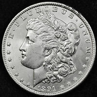 1891-P MORGAN SILVER DOLLAR.  FULL CHEST FEATHERS.  BU.  INVENTORY A