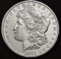 1881-S MORGAN SILVER DOLLAR.  FULL CHEST FEATHER'S.  B.U.  100376  INVENTORY H