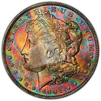 1904-O MORGAN $1 PCGS MINT STATE 64 END-OF-ROLL RAINBOW TONED MONSTER