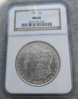1903 P NGC MINT STATE 64 MORGAN SILVER DOLLAR NGC MINT STATE 64. BRIGHT WHITE COIN.