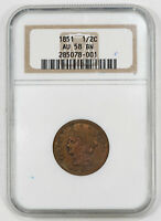 1851 BRAIDED HAIR HALF CENT 1/2C NGC AU 58 BN BROWN ABOUT UNCIRCULATED 001