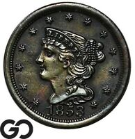 1853 HALF CENT BRAIDED HAIR SUPER SHARP EARLY DATE COPPER COIN
