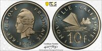1967 NEW CALEDONIA 10 FRANCS PCGS SP68 SILVER PIEFORT MINTAG