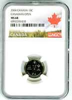 2004 P CANADA 10 CENT DIME CANADIAN GOLF OPEN NGC MS68  MINT