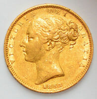DETAILED 1853 QUEEN VICTORIA YOUNG HEAD GOLD SHIELD SOVEREIG