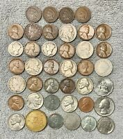 STARTER COLLECTION MIX LOT OF 36 OLD U.S. COINS WITH 2 MERCU
