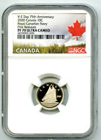 2020 CANADA 10 CENT V E DAY VE DAY NAVY PROOF NGC PF70 DIME