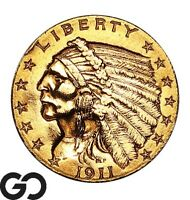 1911 QUARTER EAGLE $2.5 GOLD INDIAN    FREE SHIPPING
