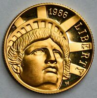 CHOICE PROOF 1986 USA GOLD $5   100TH ANNIVERSARY OF THE STA