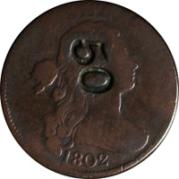 1802 LARGE CENT - COUNTER STAMP '50' GREAT DEALS FROM THE EXECUTIVE COIN COMPANY