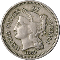 1869 THREE 3 CENT NICKEL GREAT DEALS FROM THE EXECUTIVE COIN COMPANY