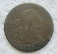1803 1C BN DRAPED BUST LARGE CENT  DETAIL CHOCOLATE BROWN  COLOR BOLD DATE