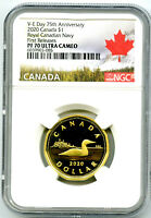 2020 $1 CANADA V E DAY VE DAY NAVY PROOF LOON NGC PF70 FIRST