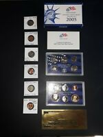 COIN LOT COLLECTION US PROOF SET GOLD PLATE WHEAT BUFFALO NI