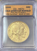 2006 $50 GOLD BUFFALO ICG MS70 FIRST DAY ISSUE 949 OF 999