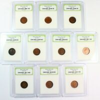 GROUP LOT OF 10 SLABBED U.S. INDIAN CENTS 1T