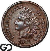 1874 INDIAN HEAD CENT PENNY CHOICE XF  /AU BETTER DATE
